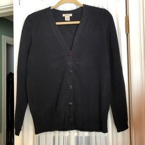 Vertical design 2-Ply Black Cashmere Cardigan